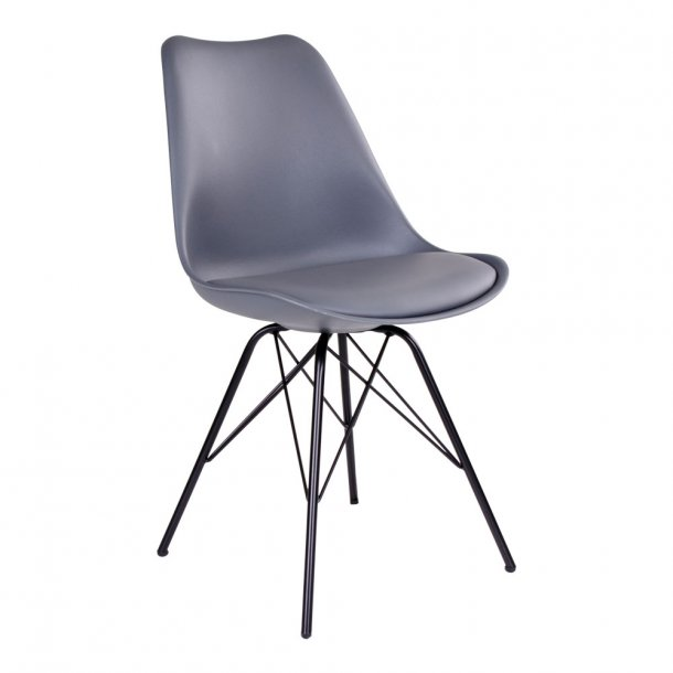 Nome - spisebordsstol i grå plast, sorte metalben