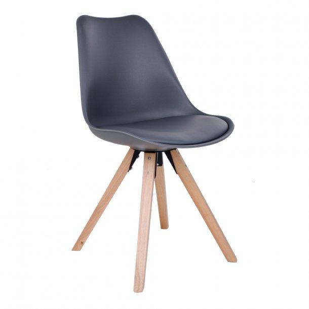 Ocean - spisebordsstol i grå plast, natur træben