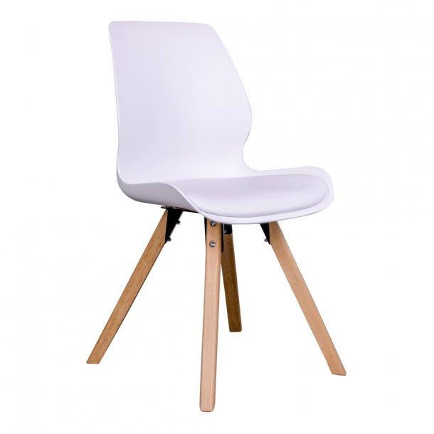 Curve - spisebordsstol i hvid plast, natur træben