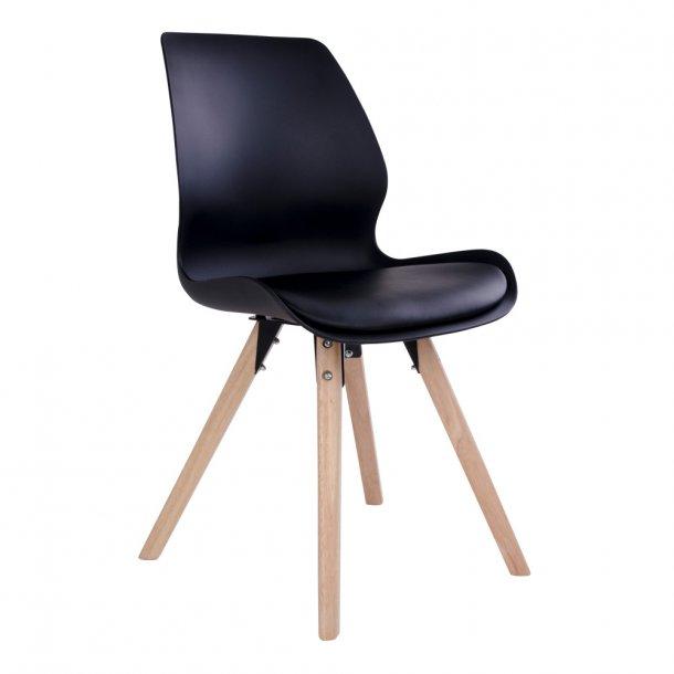 Curve - spisebordsstol i sort plast, natur træben