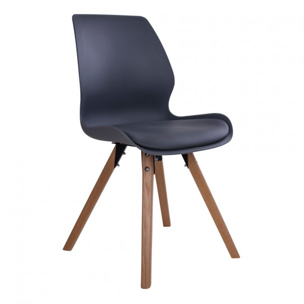 Curve - spisebordsstol i grå plast, natur træben