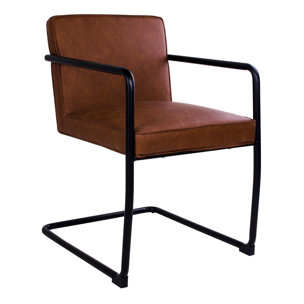Super Ursus - spisebordsstol i brun PU læder, sort metalstel - Stole med HD51