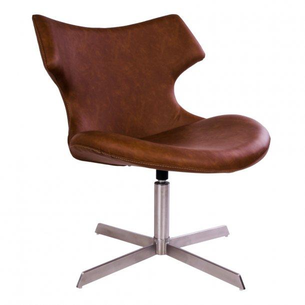 Class - hvilestol i brunt PU læder.