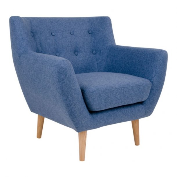 Curvy - lænestol, blåt stof