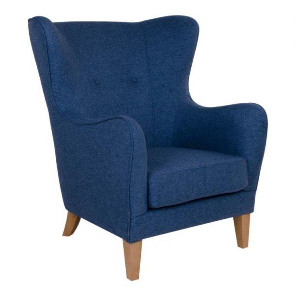 Bear -højrygget lænestol, blåt stof