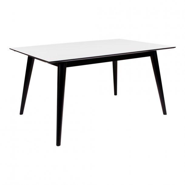 Cross - spisebord 90 x 150 cm, hvid højtrykslaminat, sort stel