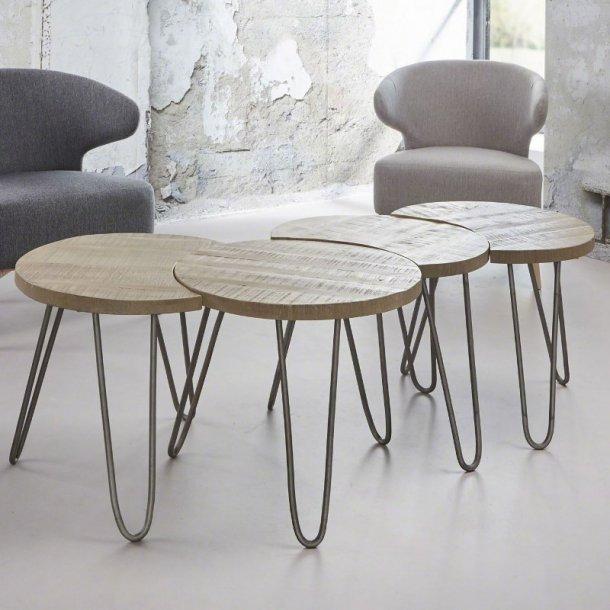 Java - sofabordssæt massivt mangotræ, hvid antik finish
