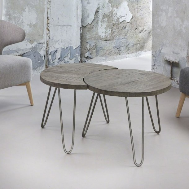 Java - sofabordssæt massivt mangotræ, grå finish
