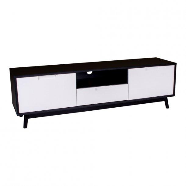 Cross - sort tv-bord med hvide døre og skuffe