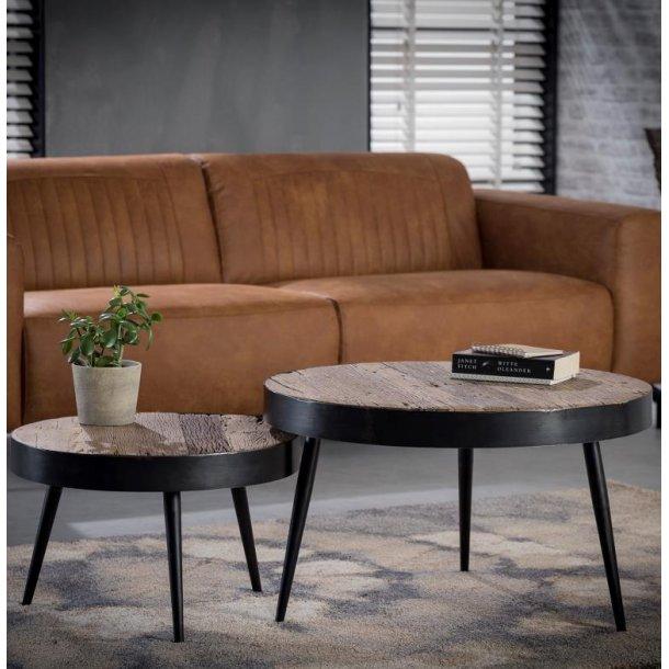 Ventu - sofabord, genbrugstræ, 2 borde ø 55 cm - ø 75 cm.