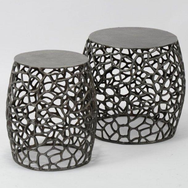Double - sofabordssæt i sort nikkel.