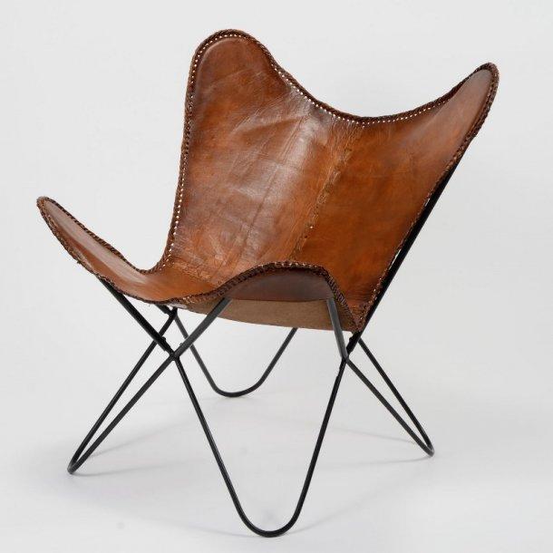 Como Plus- klassisk retro stol i brunt læder.