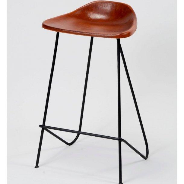 Spunk - barstol i metal og brunt læder.