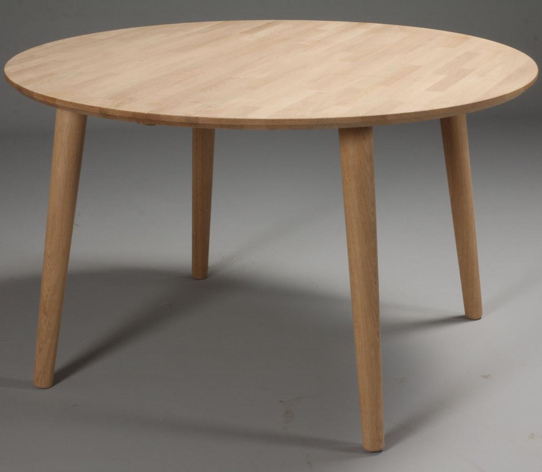rundt spisebord Lumber   rundt spisebord med 1 tillægsplade, massiv eg  rundt spisebord