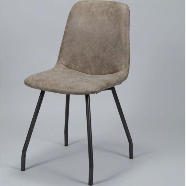 Skott - spisebordsstol i stål og brunt læder