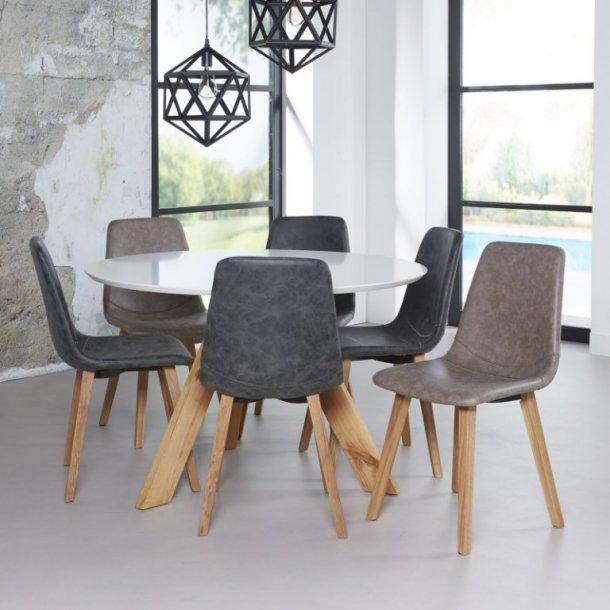 Globe - Spisebord ø 120 cm., hvid top, natur egeben