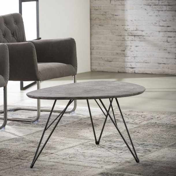 3D - nyreformet sofabord beton look, 90 x 60 cm