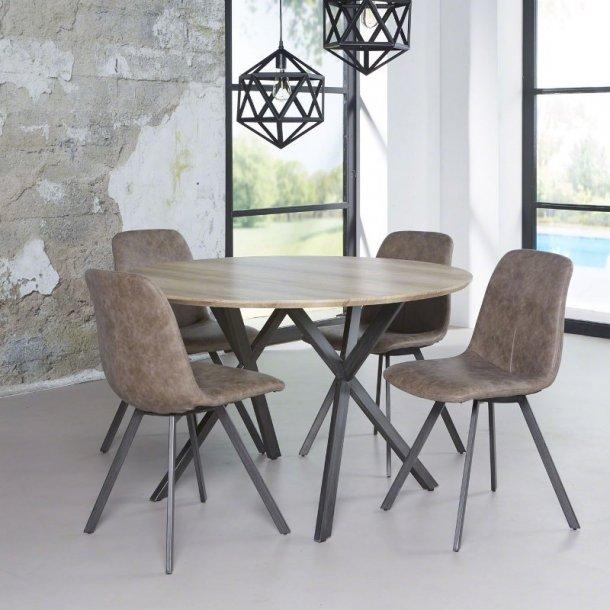 3D - rundt spisebord antik eg look, ø 120 cm.