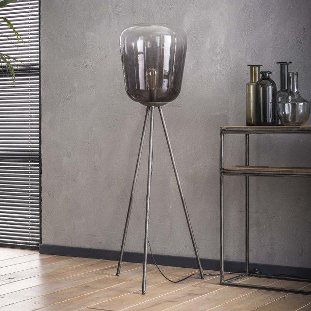 Z 7248 - gulvlampe i forkromet glas og antik metal.