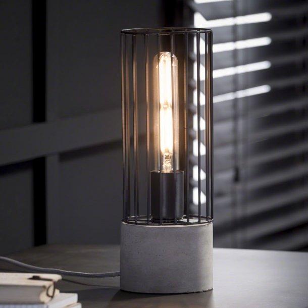 Z-7408 - bordlampe, cylinder formet metal og beton fod