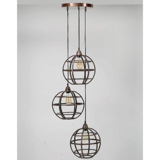Z 7587 - 3 loftlamper i antik kobber.