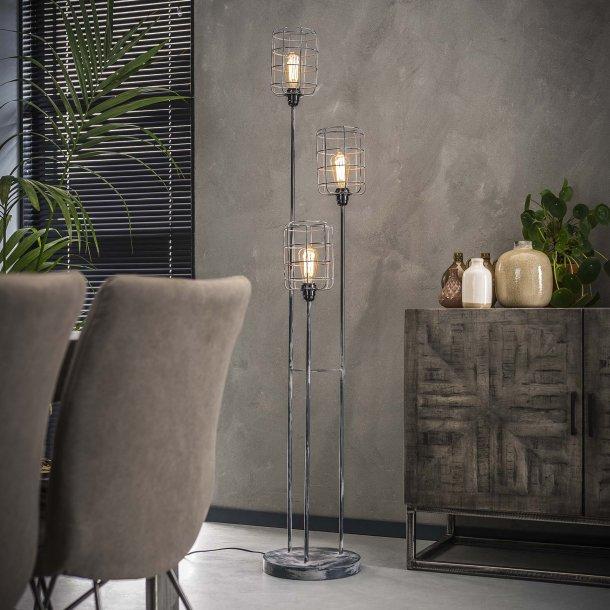 Z 8193 - gulvlampe med 3 pærer, grå beton look.