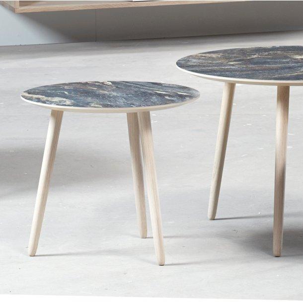 CT 20 - sofabord i brun marmorlook med træben, 4 størrelser.