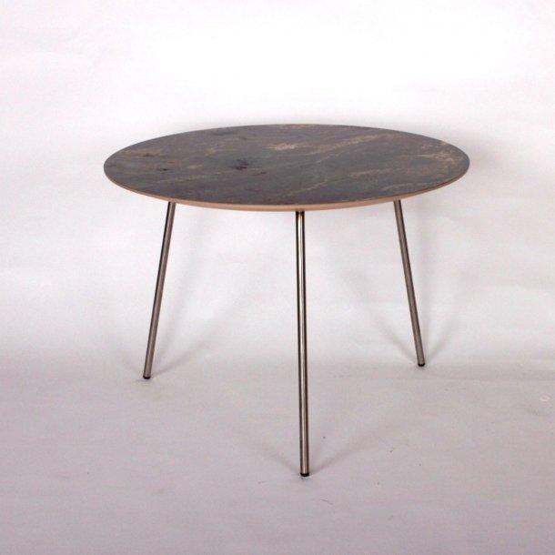 CT 20 - sofabord i brun marmorlook med stålben, 3 størrelser.