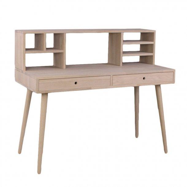 Duxx - Skrivebord med 2 skuffer og overbygning, eg