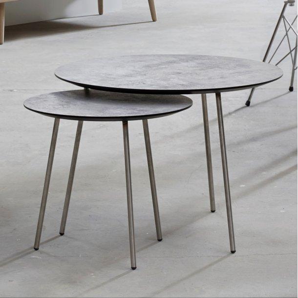 CT 20 - sofabord i lys betonlook med stålben, 3 størrelser.