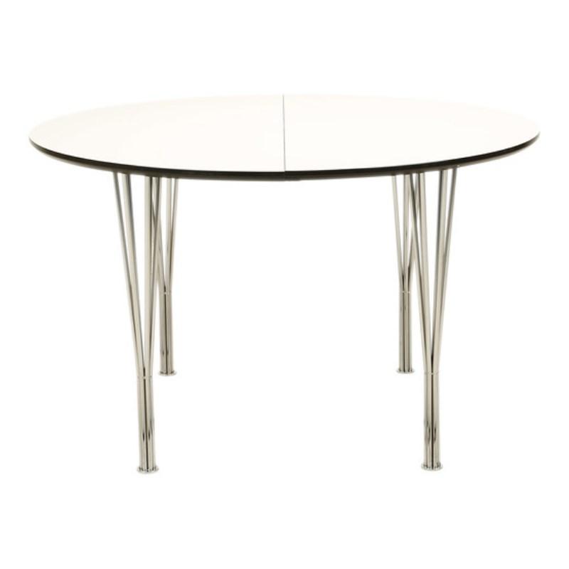 DT 110 - ø 120 cm. spisebord, hvid laminat med metal ben - Tilbud ...