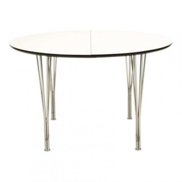 DT 110 - ø 120 cm. spisebord, hvid laminat med metal ben
