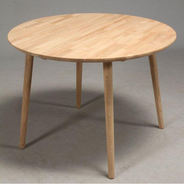 Lumber - rundt spisebord ø 100 cm., med 2 tillægsplader, massiv eg
